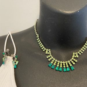 2/$35 Vintage Rhinestone Green Necklace & Earrings